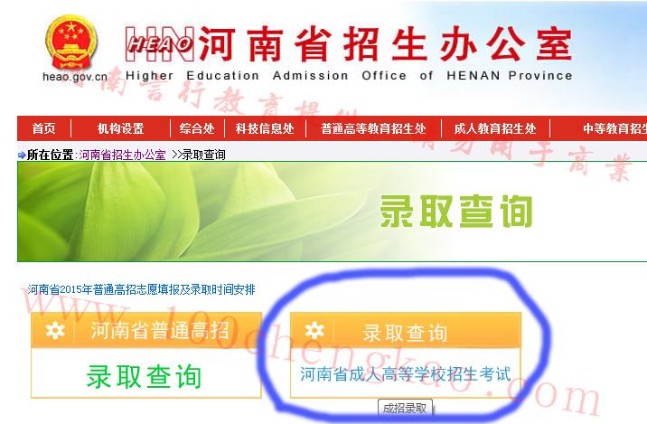 河南成人高考录取结果查询-省招办成考录取查询页面1