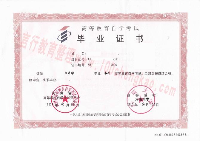 河南财经政法大学自考本科毕业证样本(真人版)